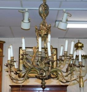 24 light bronze chandelier.