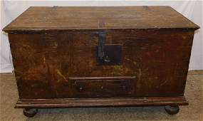18th C Continental blanket box with early lock.