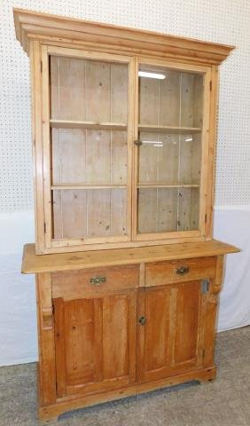 19th C. pickled pine stepback cupboard.