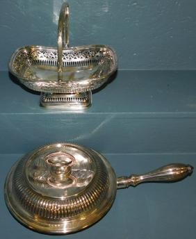 Silver plate covered pan & basket.