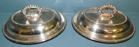 2 silver plate covered dishes.