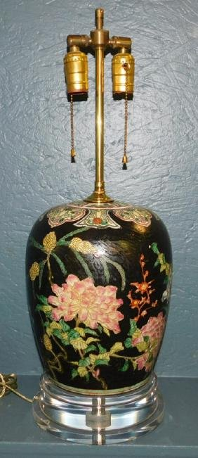 Oriental vase made into lamp.