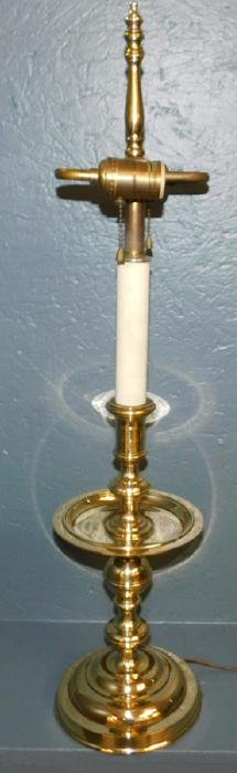 Large brass candlestick lamp with mid drip pan.