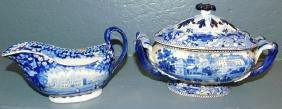 19th C Eng transfer tureen & Adams gravy boat.