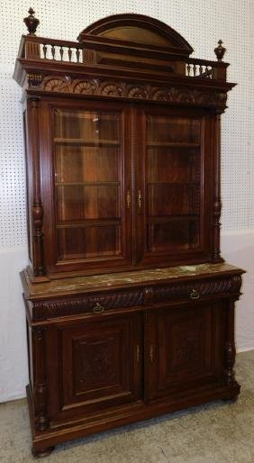Antique Vict English walnut MT wall cupboard