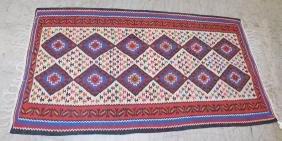 """6'2"""" x 3'4"""" Iranian Kurdish Kilim rug."""