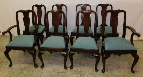 8 Henkel Harris mahogany Queen Anne chairs.