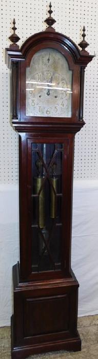 19th C Eng mah glass door GF clock w/brass dial.
