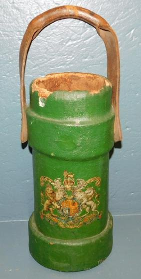 Early leather fire bucket w Royal UK coat of arms.