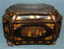 Chinoiserie tea caddy with original pewter fittings.