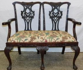 19th C mah 2-seat settee w/ carved arm & legs.