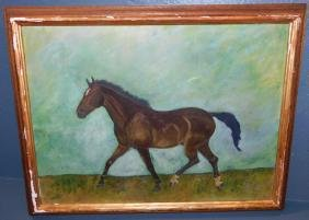 """Oil painting of race horse signed """"A. G.""""  26"""" x 21""""."""