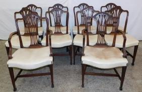 Set of 10 mahogany Hepplewhite dining chairs