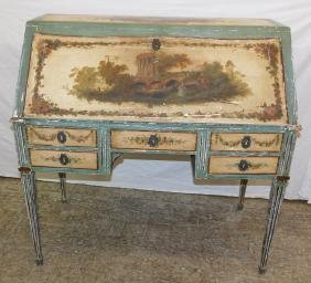 19th C Continental paint decorated drop front desk