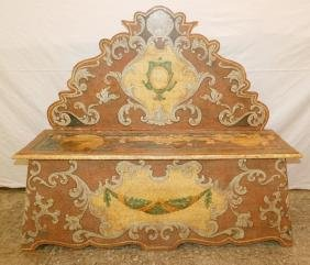 Paint decorated Venetian bench.