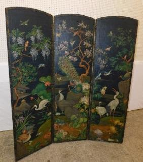 19th C 3 panel painted leather screen.