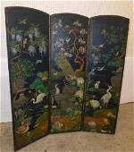 19th C 3 panel painted leather screen