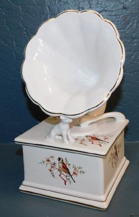 Hand painted Portuguese porc gramophone box