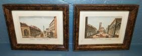 Pair of miniature framed Roman scene prints.
