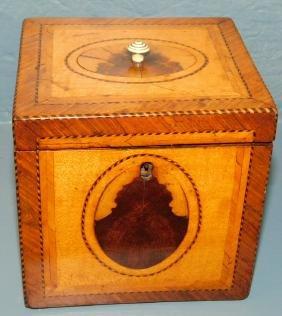 Fine square satinwood inlaid tea caddy.