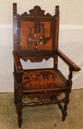 19th C Italian marquetry & bone scenic arm chair.