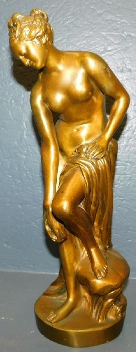 "Cast bronze figural nude. 15"" tall."