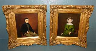 Pair 19th C portrait oil paintings of man and wife.