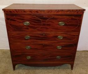 19th C mahogany inlaid Federal chest
