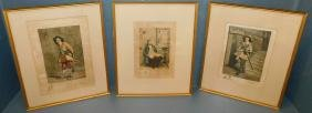 3 early etchings of Musketeers by W. Edwin Law