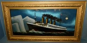 Reverse painting on glass of Titanic.