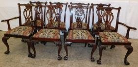 Set of 8 mah Chippendale ball & claw foot chairs.