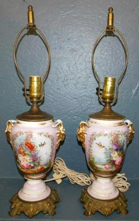 Pr handpainted Old Paris vases made into lamps