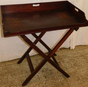 19th C mahogany dovetailed butlers tray and stand.