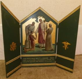 Triptych painted screen depicting Matthew 24:3.