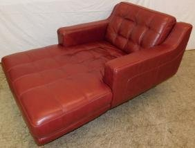 Red Leather chaise lounge.