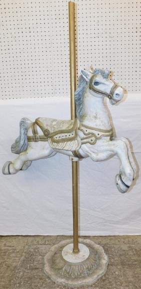 Cast aluminum carousel horse.