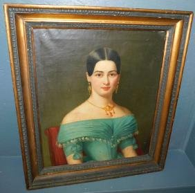 19th C oil on canvas formal portrait of lady.