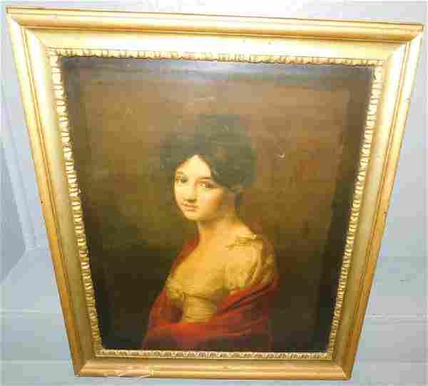 "Print on artist board portrait of woman. 24"" x 20""."