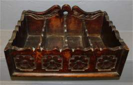 19th C Walnut Jacobean cutlery box