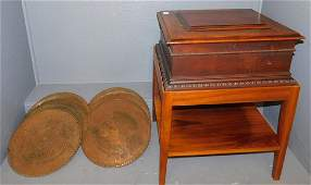 Regina single comb music box with 14 disks.
