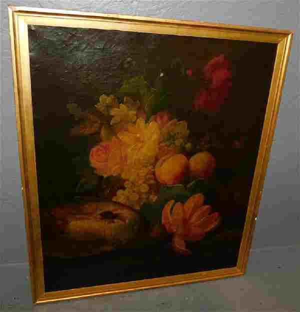 19th C Still life oil on canvas