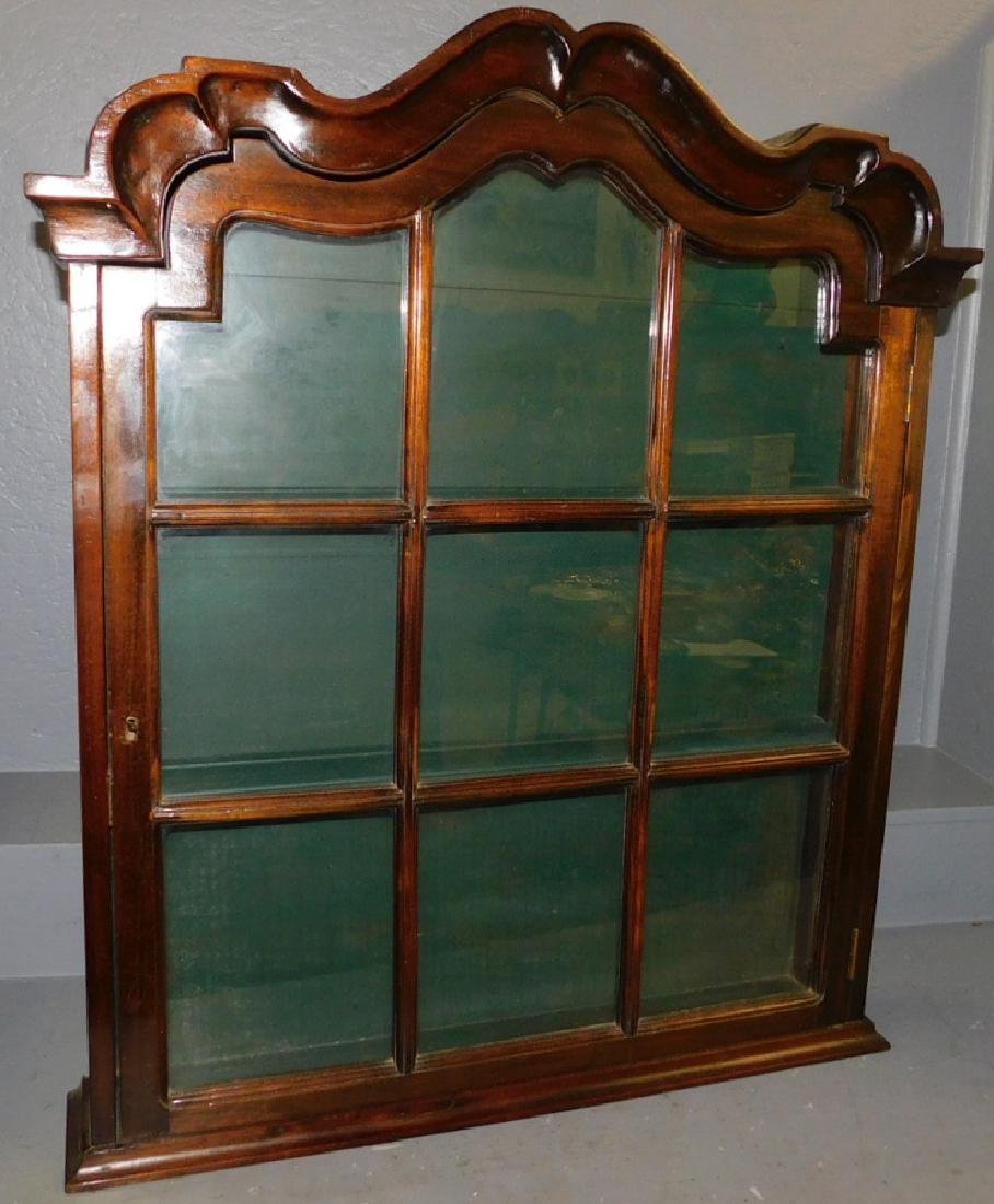 19th C Hanging glass front mahogany cabinet