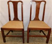 Pair 18th century walnut Chippendale side chairs