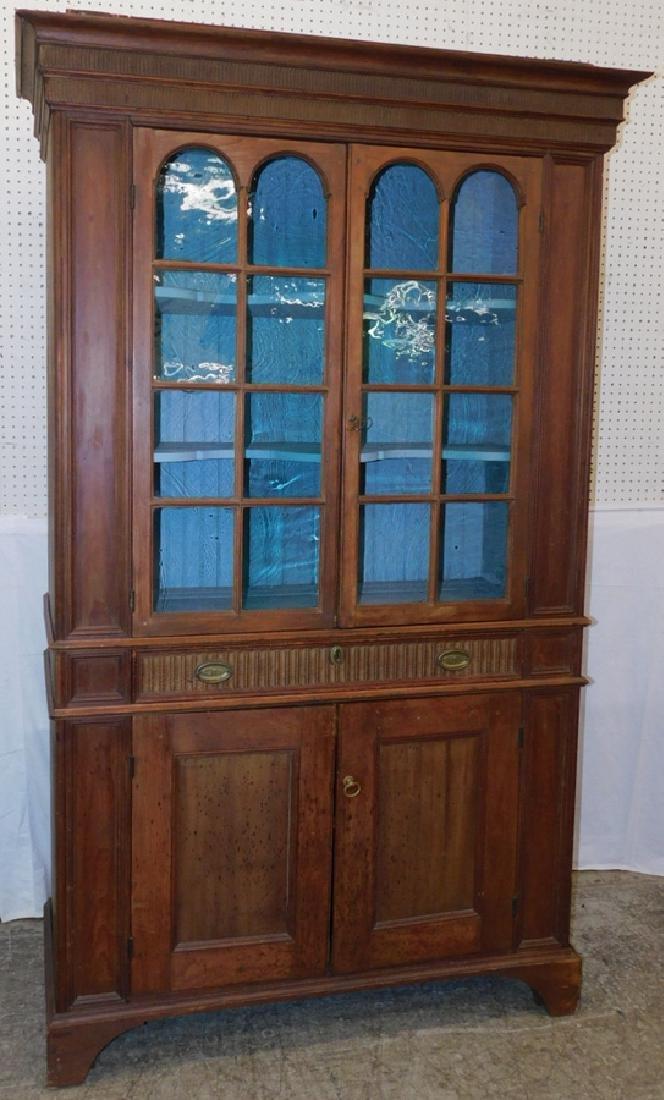 18th C Glass Door Pa Flat Back Pine Wall Cupboard