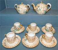 14 pc 19th C Russian porcelain hp tea set