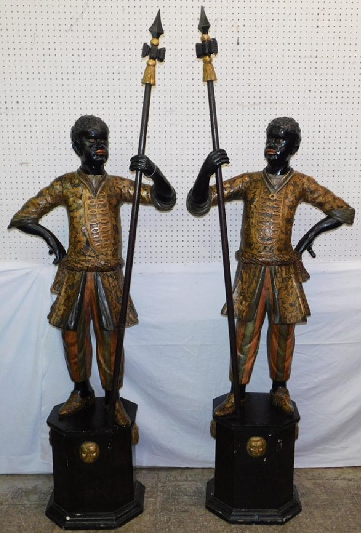 Pr 19th C carved and painted Blackamoor figures.