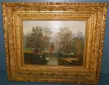 OOC of swan lake scene in ornate gold leaf frame