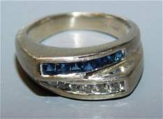 14 kt gold sapphire and diamond ring