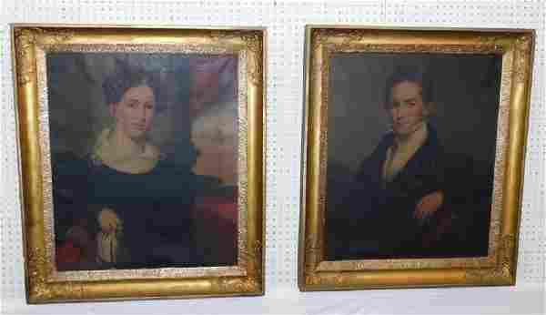 Pair of portrait oil paintings in original frames