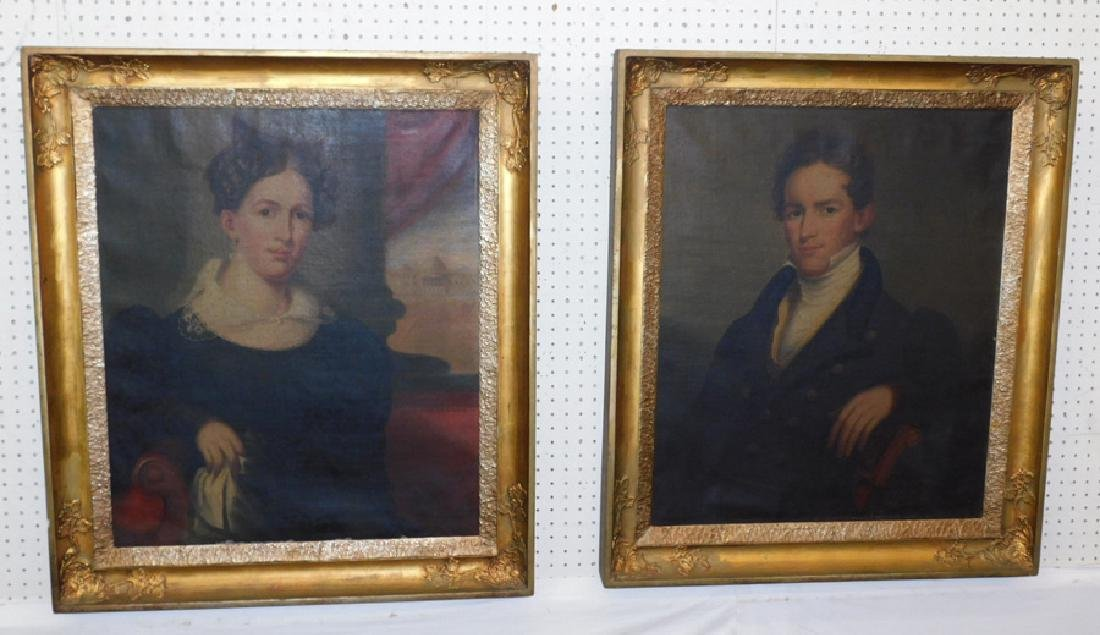 Pair of portrait oil paintings in original frames